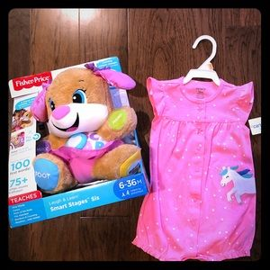 Fischer Price learning pup & 12 mo girls romper